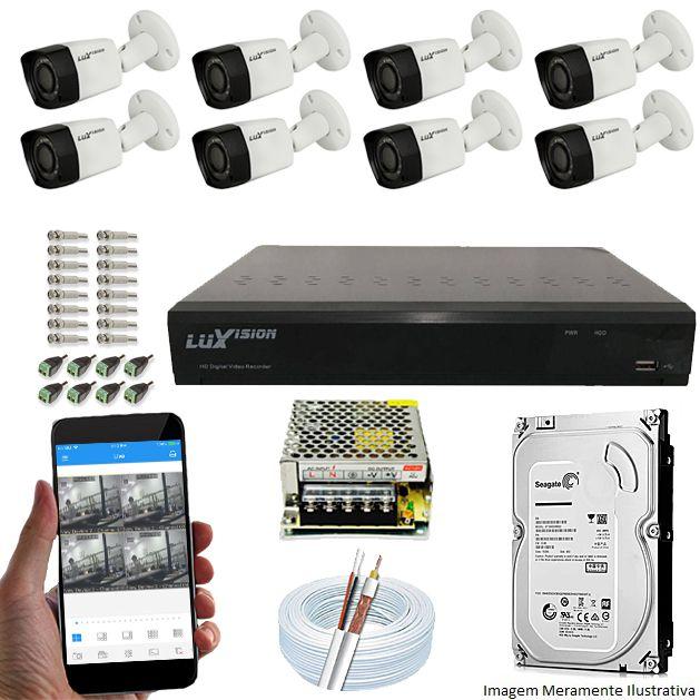 Kit Cftv 8 Câmeras Luxvision 720p Dvr 8 Canais Luxvision ECD 5 em 1 + HD 500GB