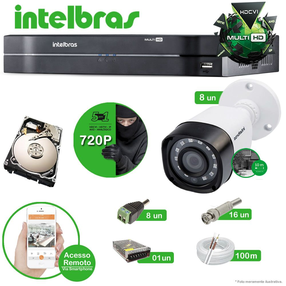 Kit Cftv 8 Câmeras Multi HD VHD 1010B Bullet Infravermelho 3,6MM 720p Dvr 8 Canais Intelbras MHDX 5 em 1 AHD, HDCVI, HTVI E ANALOGICO E IP +HD 500GB