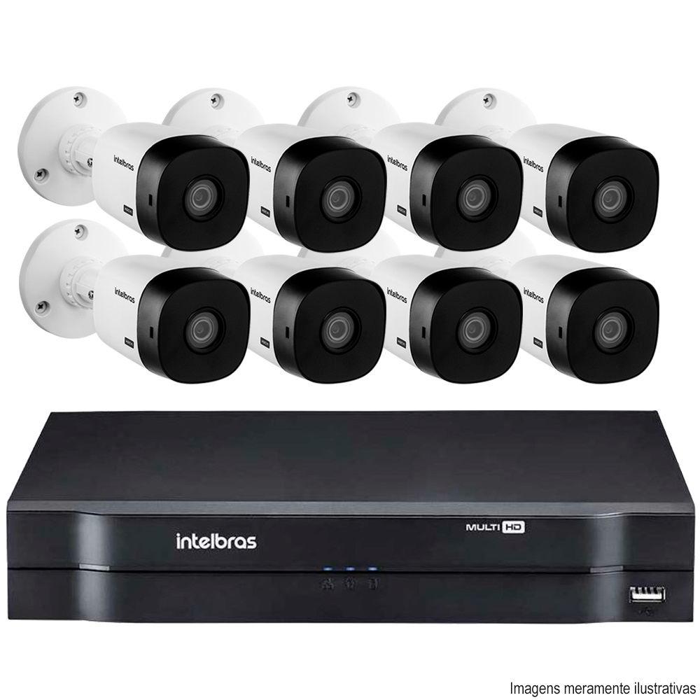 Kit Cftv 8 Câmeras Vhd 1010 Bullet 720P Dvr 8 Canais Intelbras Mhdx + Acessórios