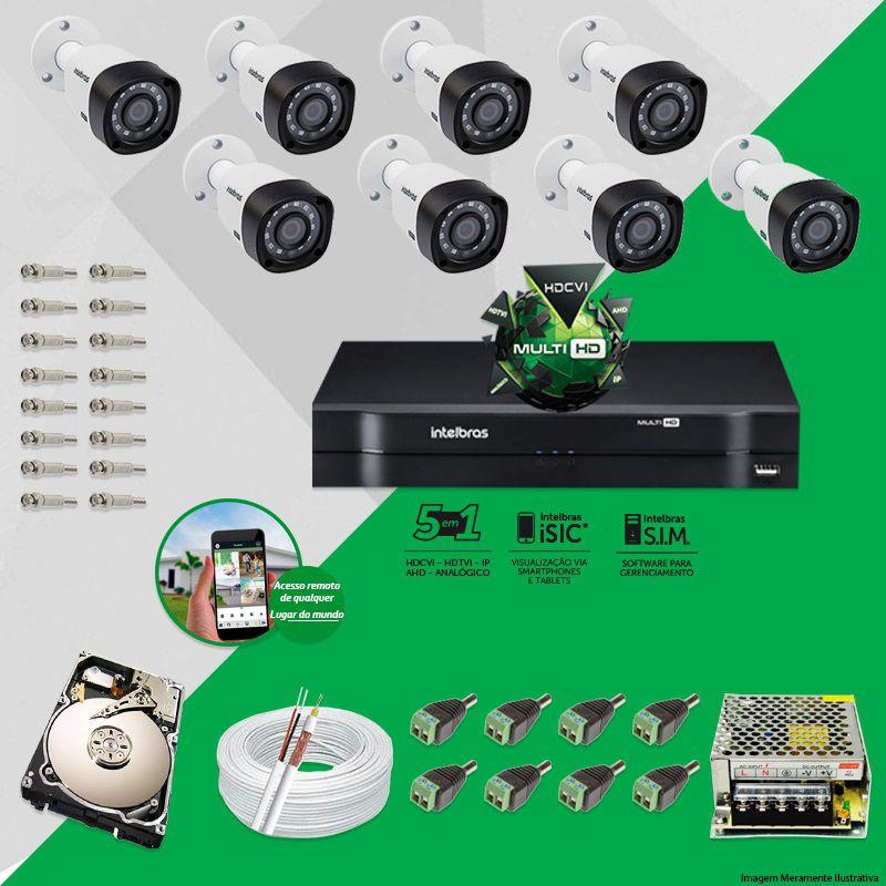 Kit Cftv 8 Câmeras VHD 1010B Bullet 720p Dvr 8 Canais Intelbras MHDX + HD 500GB