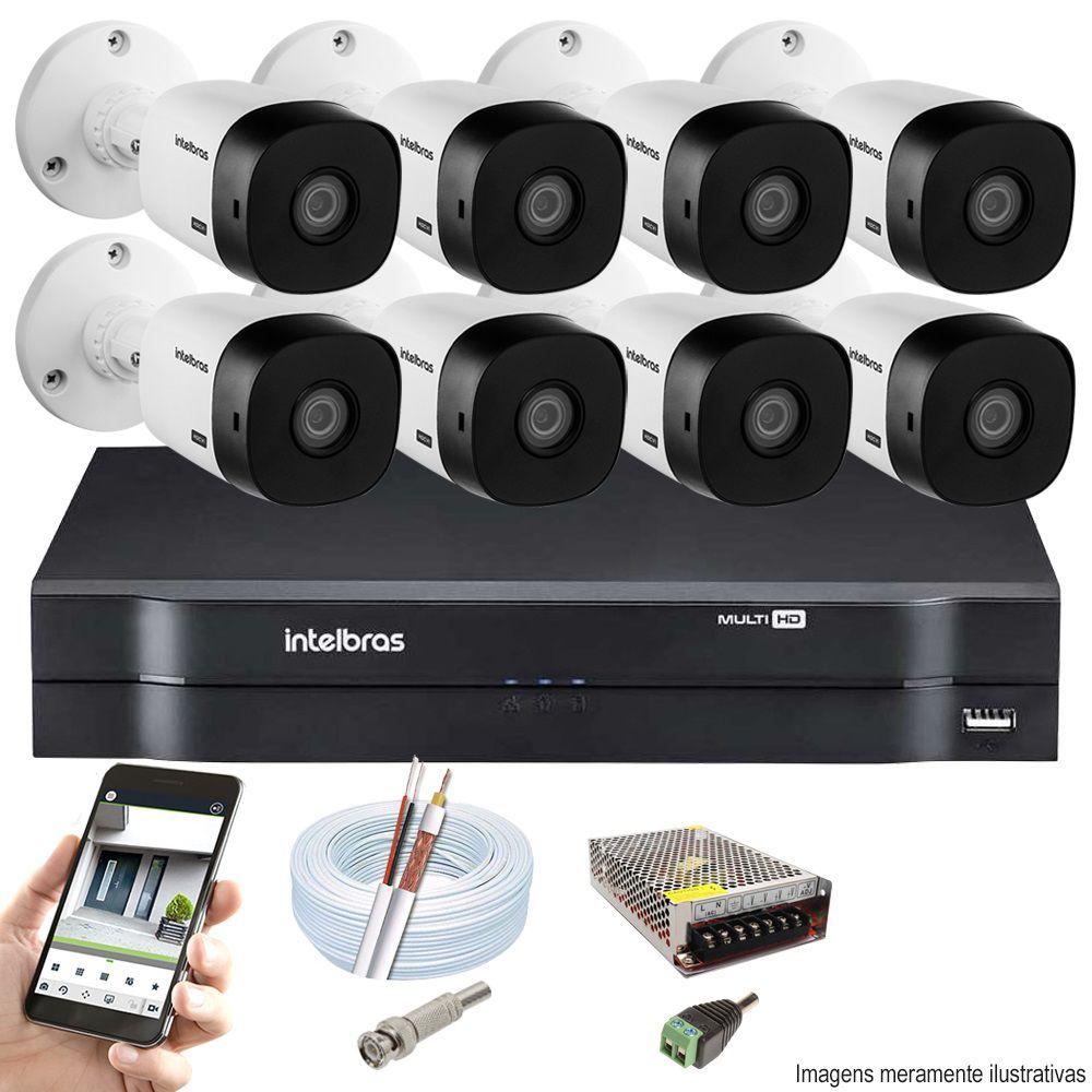 Kit Cftv 8 Câmeras VHD 1120B Bullet 720p Dvr 16 Canais Intelbras MHDX + ACESSÓRIOS