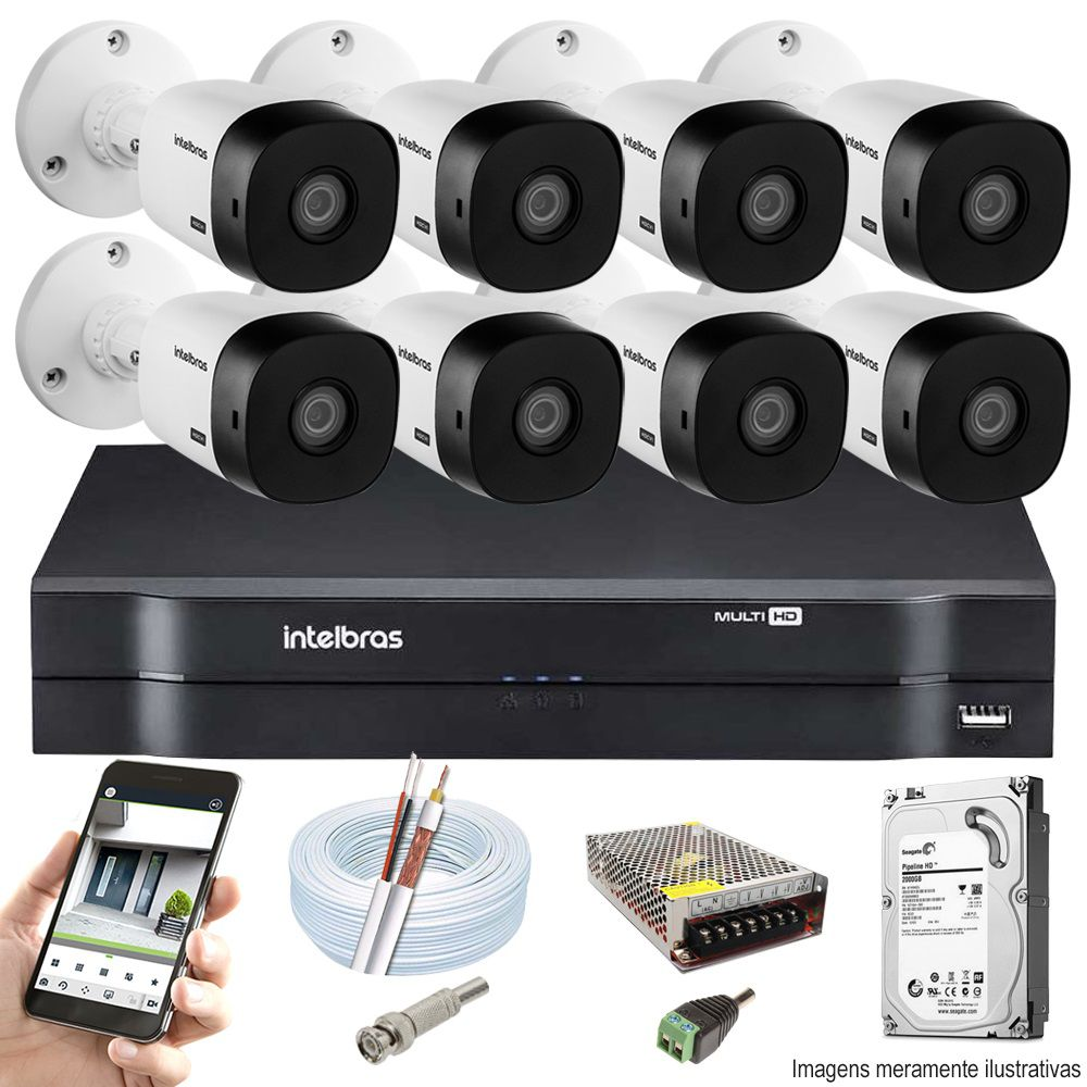 Kit Cftv 8 Câmeras VHD 1120B Bullet 720p Dvr 16 Canais Intelbras MHDX + HD 1TB