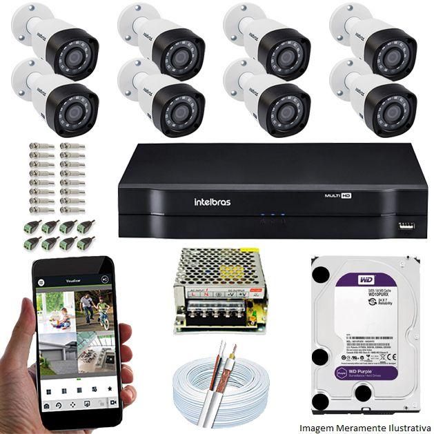Kit Cftv 8 Câmeras VHD 1120B Bullet 720p Dvr 8 Canais Intelbras MHDX + HD WDP 1TB
