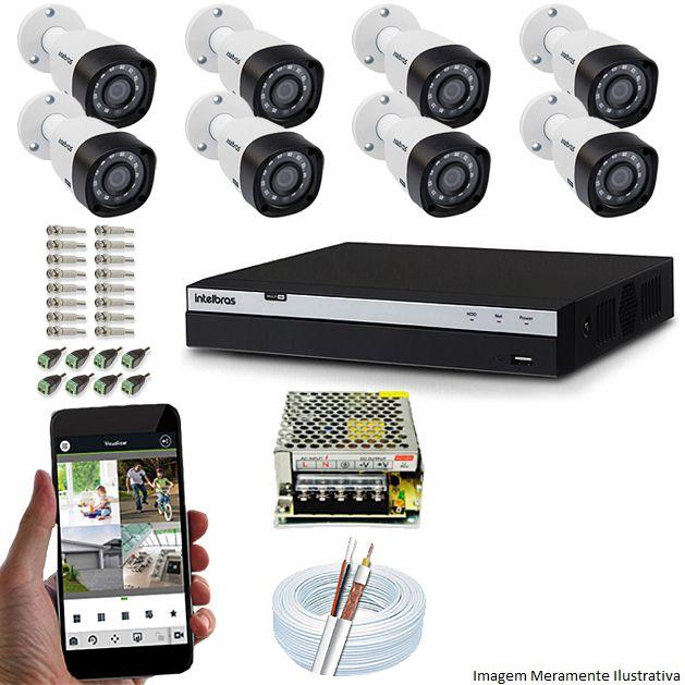 Kit Cftv 8 Câmeras Vhd 1220B 1080P 3,6Mm Dvr Intelbras Mhdx 3116 + Acessorios