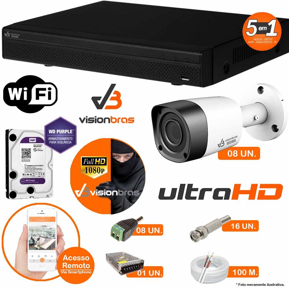 Kit Cftv 8 Câmeras Visionbras 2MP 1080p 3,6MM Dvr 16 Canais Visionbras XVR 1080p + HD PURPLE 2 TB