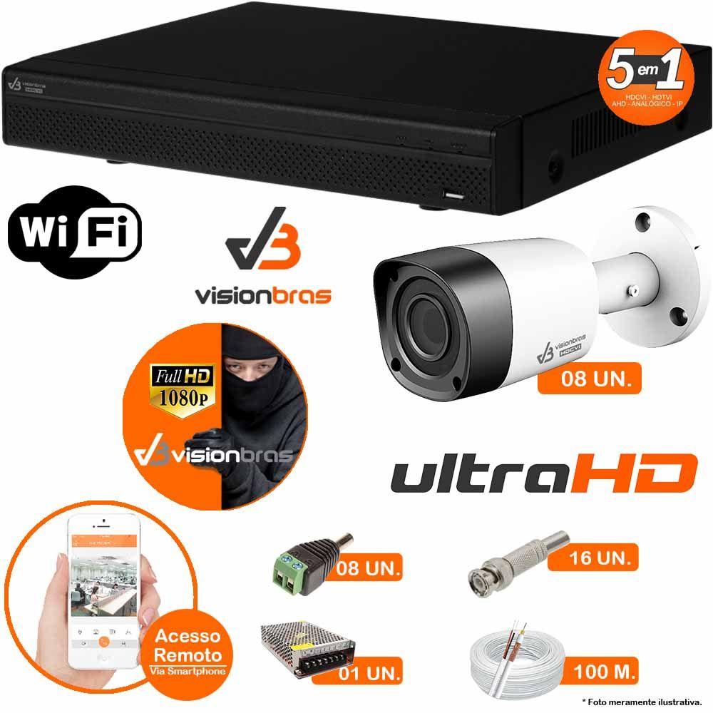Kit Cftv 8 Câmeras Visionbras 2MP 1080p 3,6MM Dvr 8 Canais Visionbras XVR 1080p + ACESSORIOS
