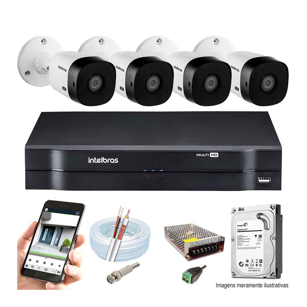 Kit Cftv Intelbras 4 Câmeras 30M Vhd 3130 B G4 Dvr 08 Canais