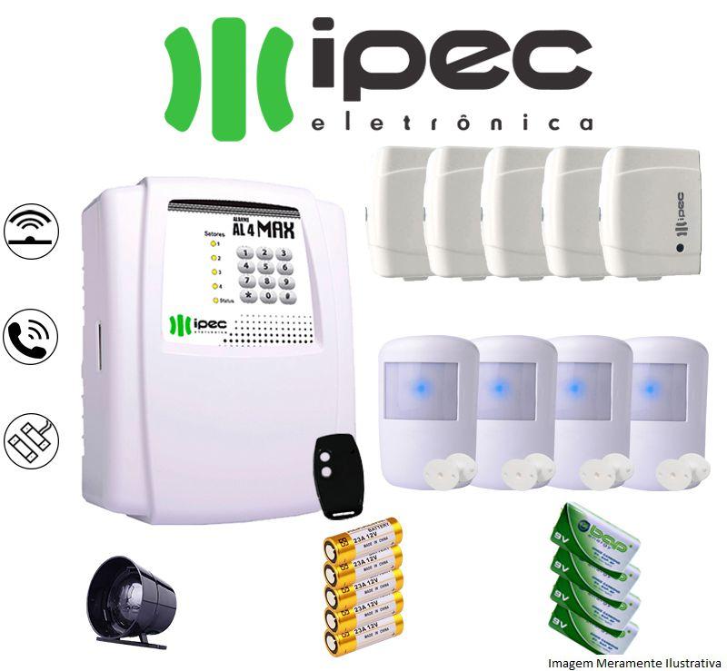 Kit De Alarme Al 4 Residencial Ipec Com 5 Sensores Magnéticos 4 Sensor Infravermelho Sem Fio