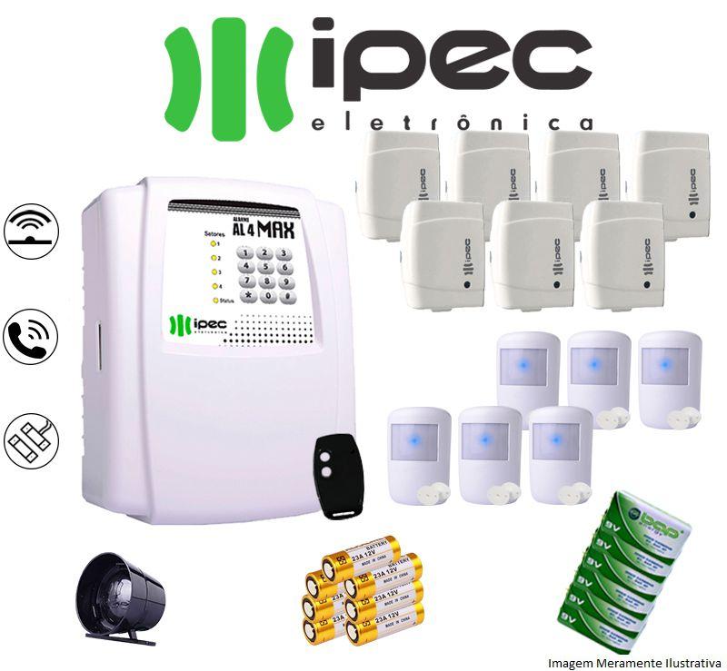 Kit De Alarme Al 4 Residencial Ipec Com 7 Sensores Magnéticos 6 Sensor Infravermelho Sem Fio