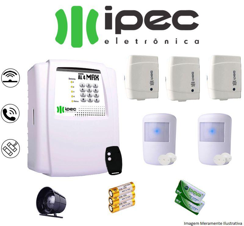 Kit De Alarme Al 4 Residencial Ipec Com 3 Sensores Magnéticos 2 Sensor Infravermelho Sem Fio