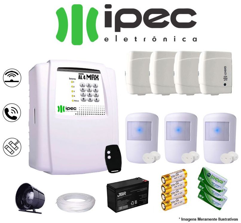 Kit De Alarme Residencial Ipec 4 Sensores Magnético 3 Sensores Infravermelho S/ Fio Completo