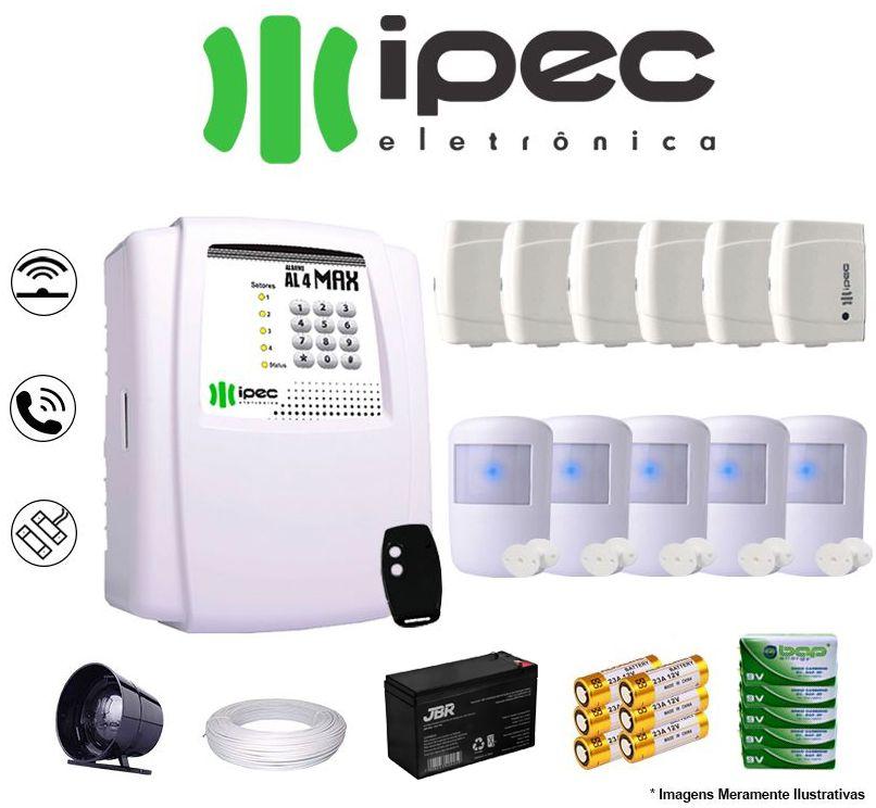 Kit De Alarme Residencial Ipec 6 Sensores Magnético 5 Sensores Infravermelho S/ Fio Completo