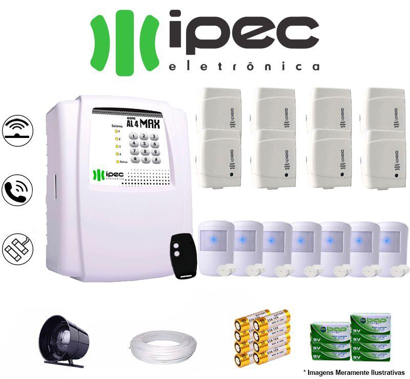Kit De Alarme Residencial Ipec 8 Sensores Magnéticos 7 Sensores Infravermelho S/ Fio C/ Cabo