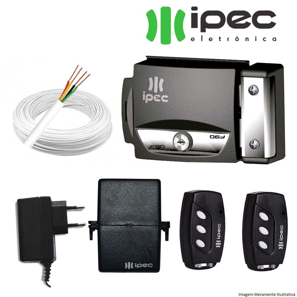 Kit Fechadura Elétrica 2 Controle Remoto, receptor,  Fonte e fio