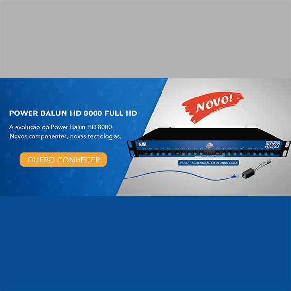 Kit Power Balun HD 8000 19' 08 Canais com Mini Rack Orion 5U Acrílico