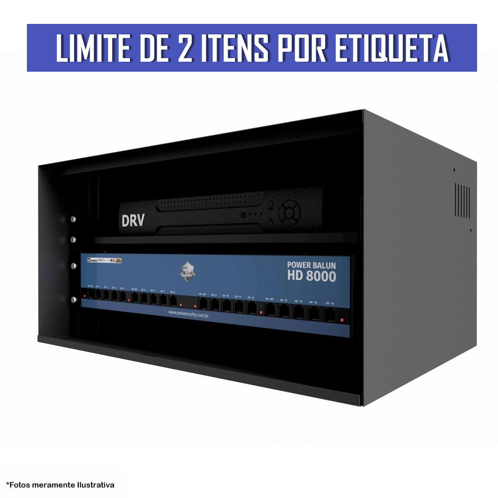 Kit Power Balun HD 8000 19' 16 Canais com Mini Rack Orion 5U Acrílico