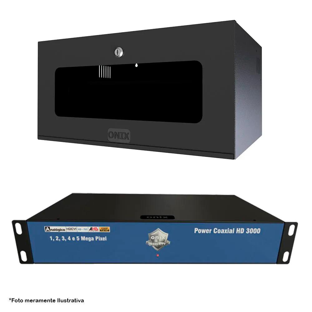 Kit Power Coaxial 16 Canais Hd 3000 Com Mini Rack 5U Acrílico Onix