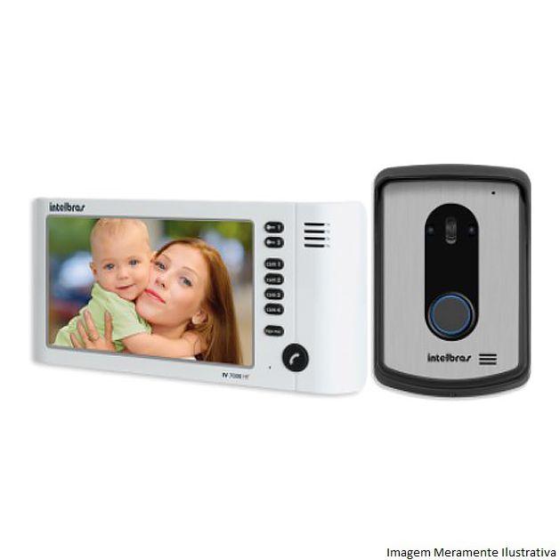 "Kit Vídeo Porteiro Interfone Intelbras IV 7010 HF Viva Voz + Tela LCD 7"""