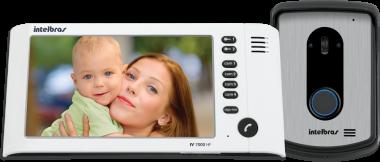 Kit Vídeo Porteiro Interfone Intelbras IV 7010 HF Viva Voz, Visualiza até 04 Cameras, Atende por Celular, abre 2 portões, Tela LCD 7