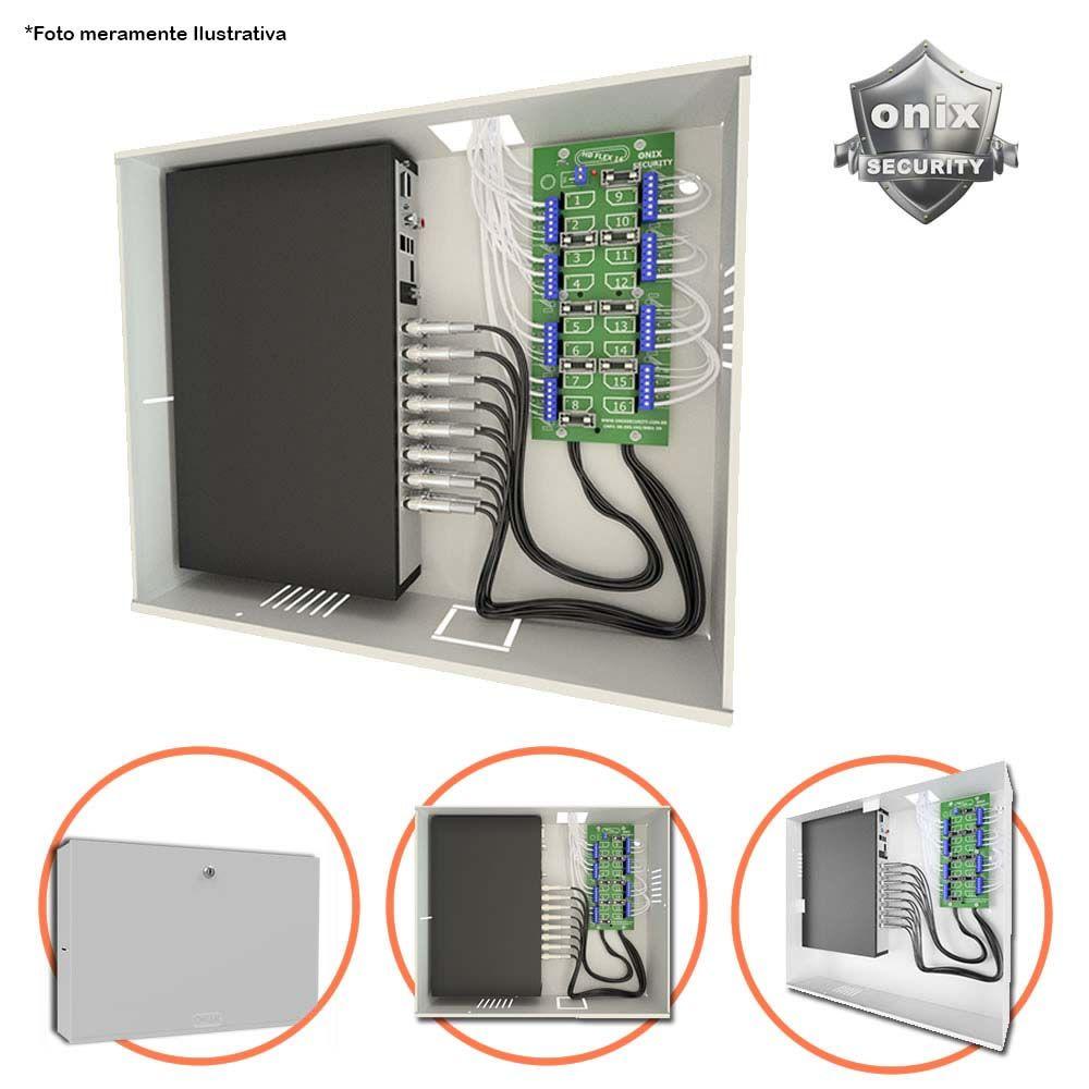 Rack Mini Orion HD 3000 08 Canais Organizador de Cabos Onix Segurity Para DVR, Compatível com Todos DVRS HDCVI/HDTVI/AHD