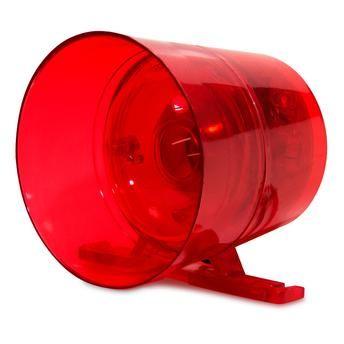 Sirene Audiovisual Ipec Vermelha Com Led 2 Som 12/24V