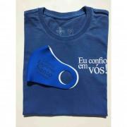Kit Confiança 7 - Camiseta Azul Stoned Eu confio em Vós + Máscara Levo o Espírito Santo Comigo
