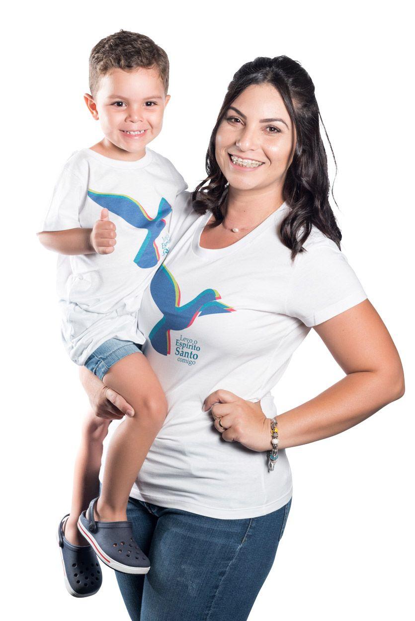 CAMISA BRANCA INFANTIL UNISSEX LEVO O ESPÍRITO SANTO COMIGO - PRAÇA PAPA