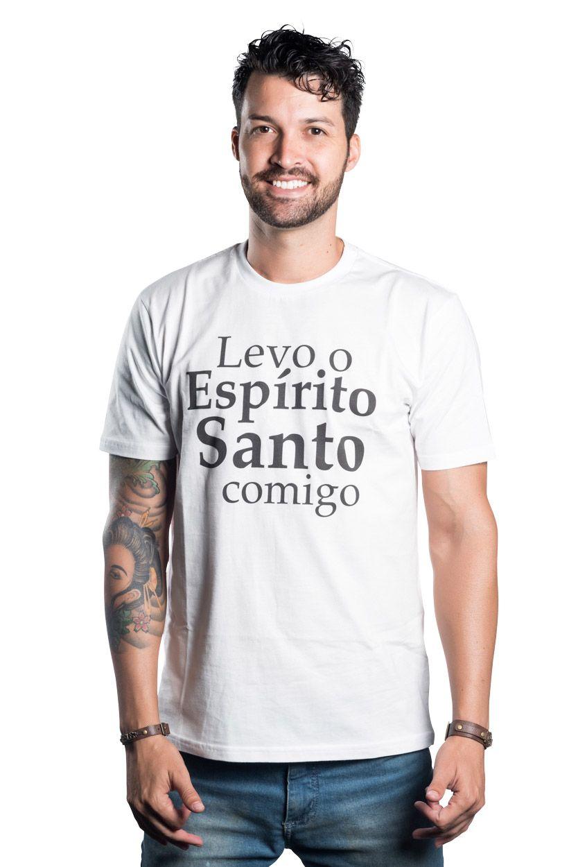 CAMISETA BRANCA LEVO O ESPÍRITO SANTO COMIGO - SÃO JOSÉ DE ANCHIETA