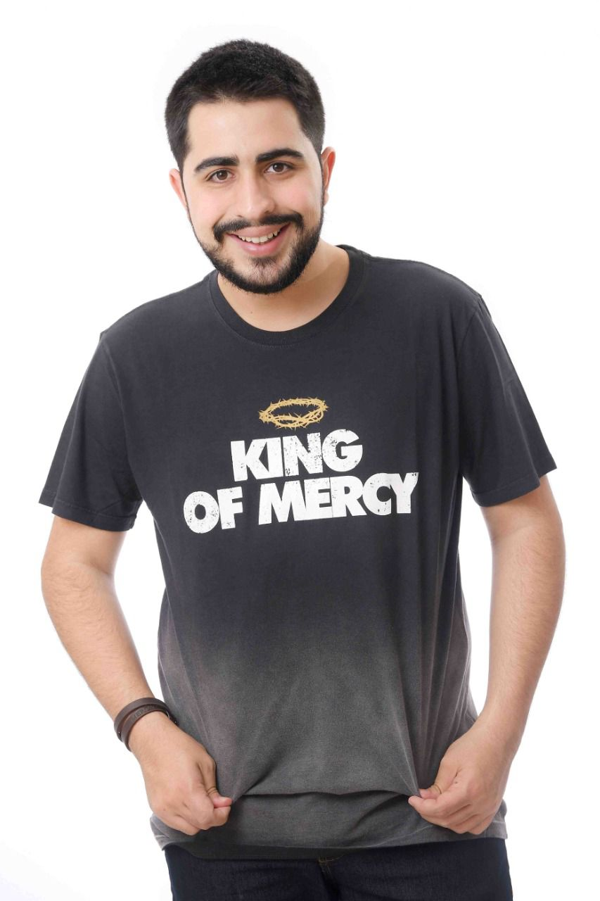CAMISETA PRETA KING OF MERCY USED DEGRADÊ