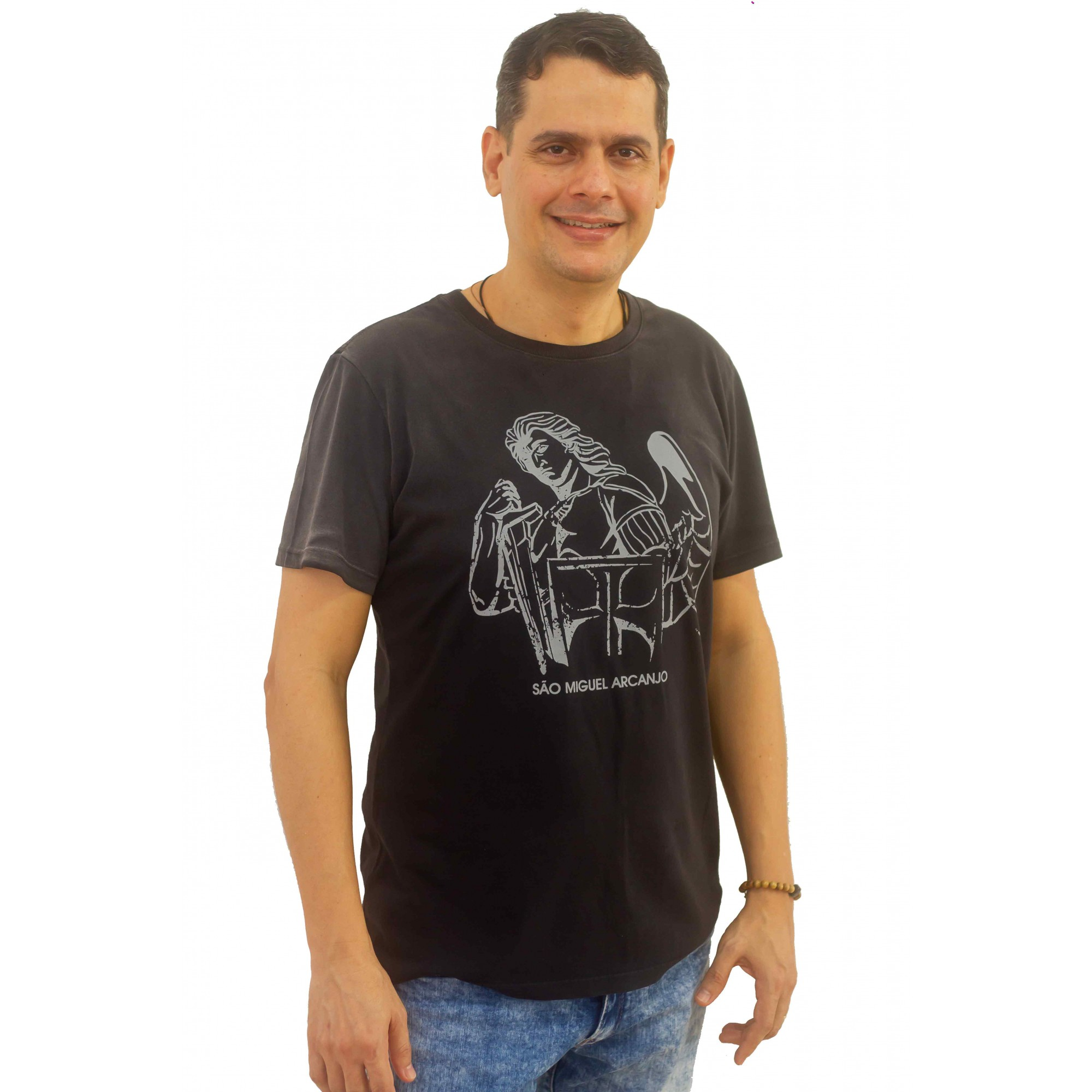 CAMISETA SÃO MIGUEL ARCANJO PRETA USED DEGRADÊ