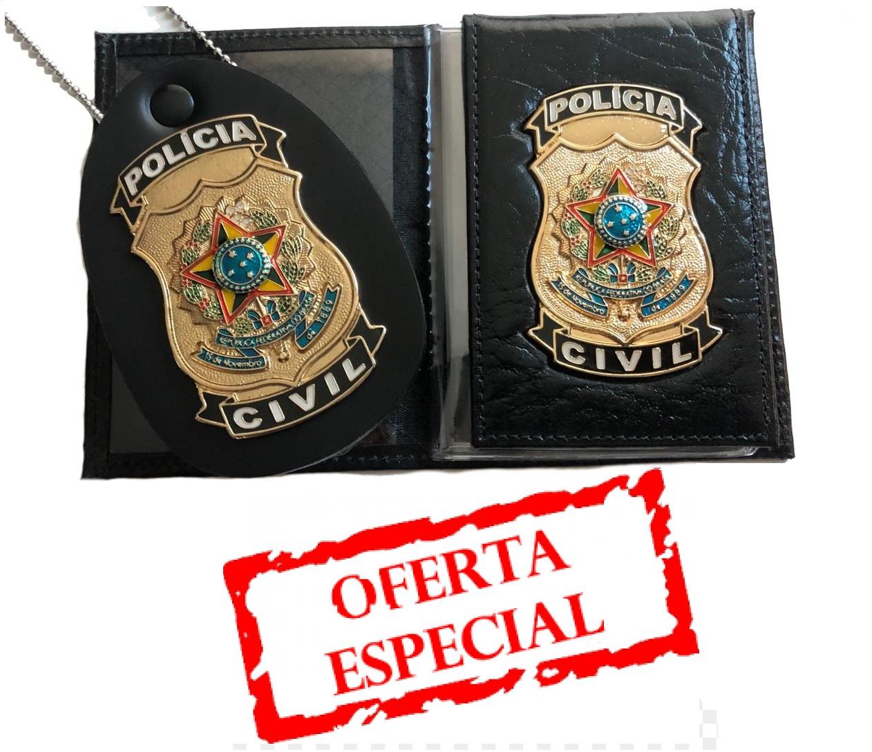 promoÇÃo policia civil - carteira + distintivo