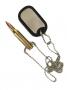 Plaqueta Identificação com Munição de Fuzil em Metal com correntinha