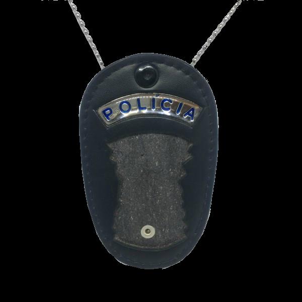 Bolachão Porta Distintivo recorte SP com Correntinha e Plaqueta Polícia