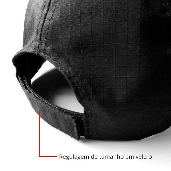 Boné Preto Liso em RipStop c/ regulagem de tamanho