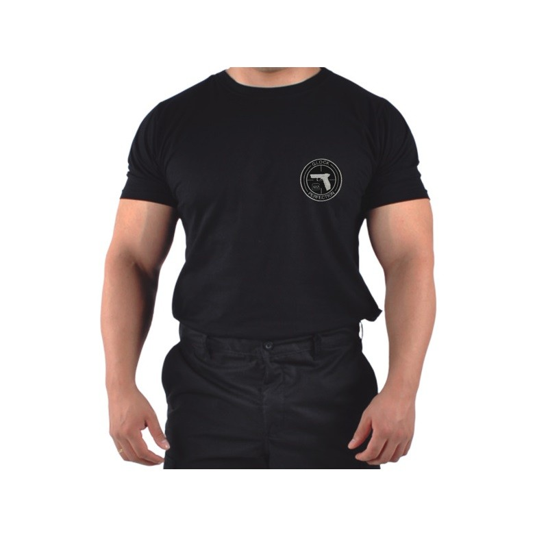 Camiseta Glock bordada na cor preta tecido algodão