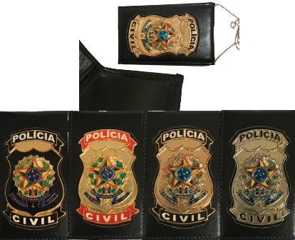 Carteira Distintivo Policia Civil Nacional 2x1 - PC Federal