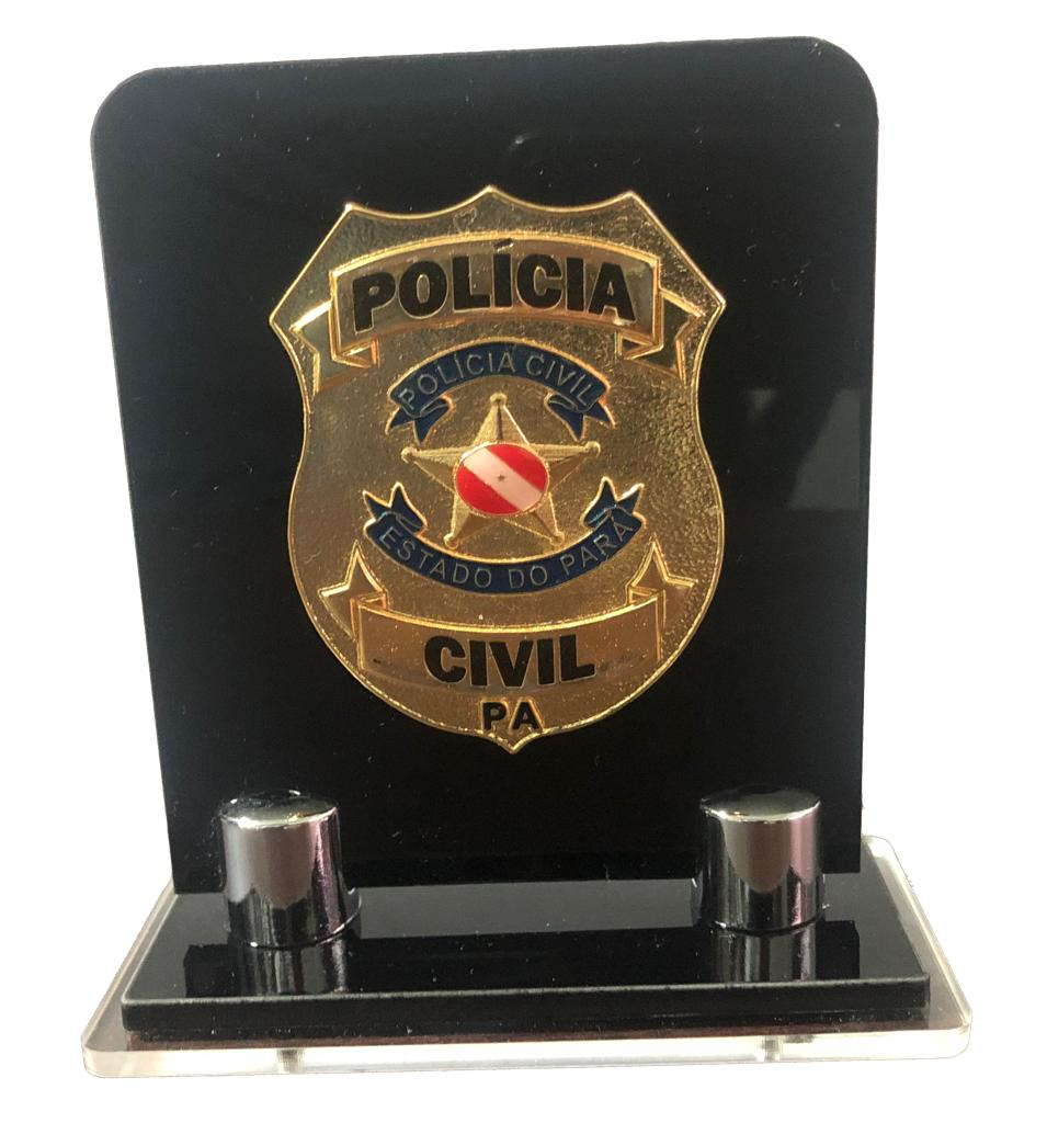 Distintivo de Mesa placa Polímero com distintivo metal