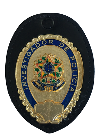 Distintivo Investigador de Polícia - Brasão Nacional no Couro
