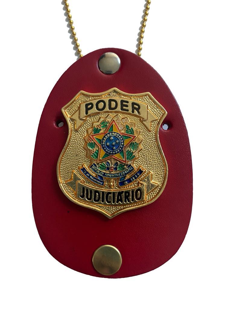 Distintivo Poder Judiciário brasão nacional dourado