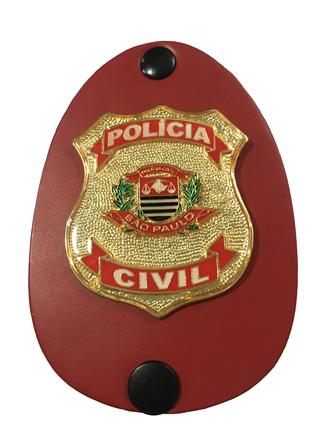 Distintivo Polícia Civil do Estado de São Paulo brasão dourado e vermelho