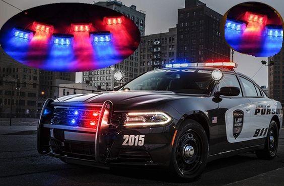Kit Strobo Policia Grade Frontal Led Vermelho e Azul - Giroflex Polícia Strobo