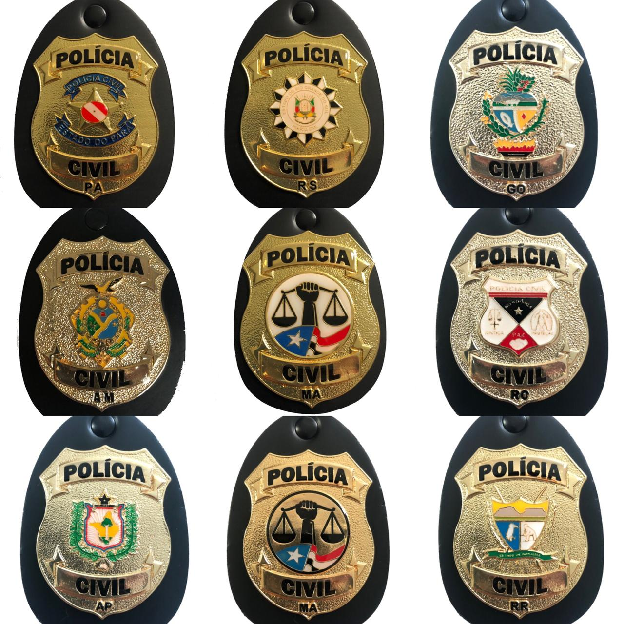 NOVOS Distintivos Polícia Civil dos Estados: AM/AP/GO/MA/PA/RO/RS/RR - Resolução Boletim Regimental 155/2017