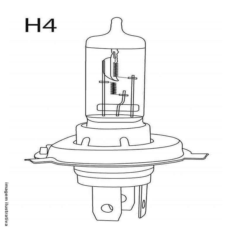 Lampada Automotiva Multilaser Economy H4 12v 55w Super Branca (PAR)