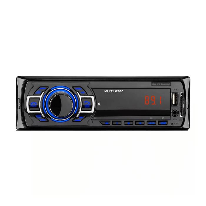 Som Automotivo New One Bluetooth Rádio FM Entradas USB P2 e SD Card Multilaser