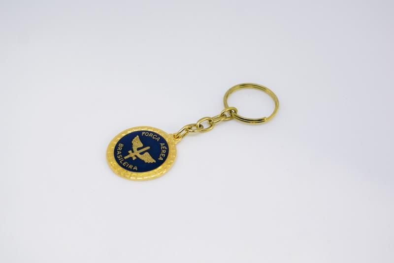Chaveiro de Metal FAB Dourado e Azul  - MOVAME CURSOS EDUCACIONAIS