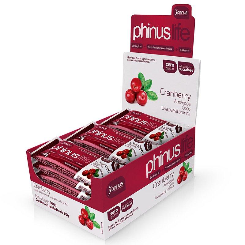 Barra de Frutas com Cranberry, Coco e Uva Zero glúten 400g - Phinus Life