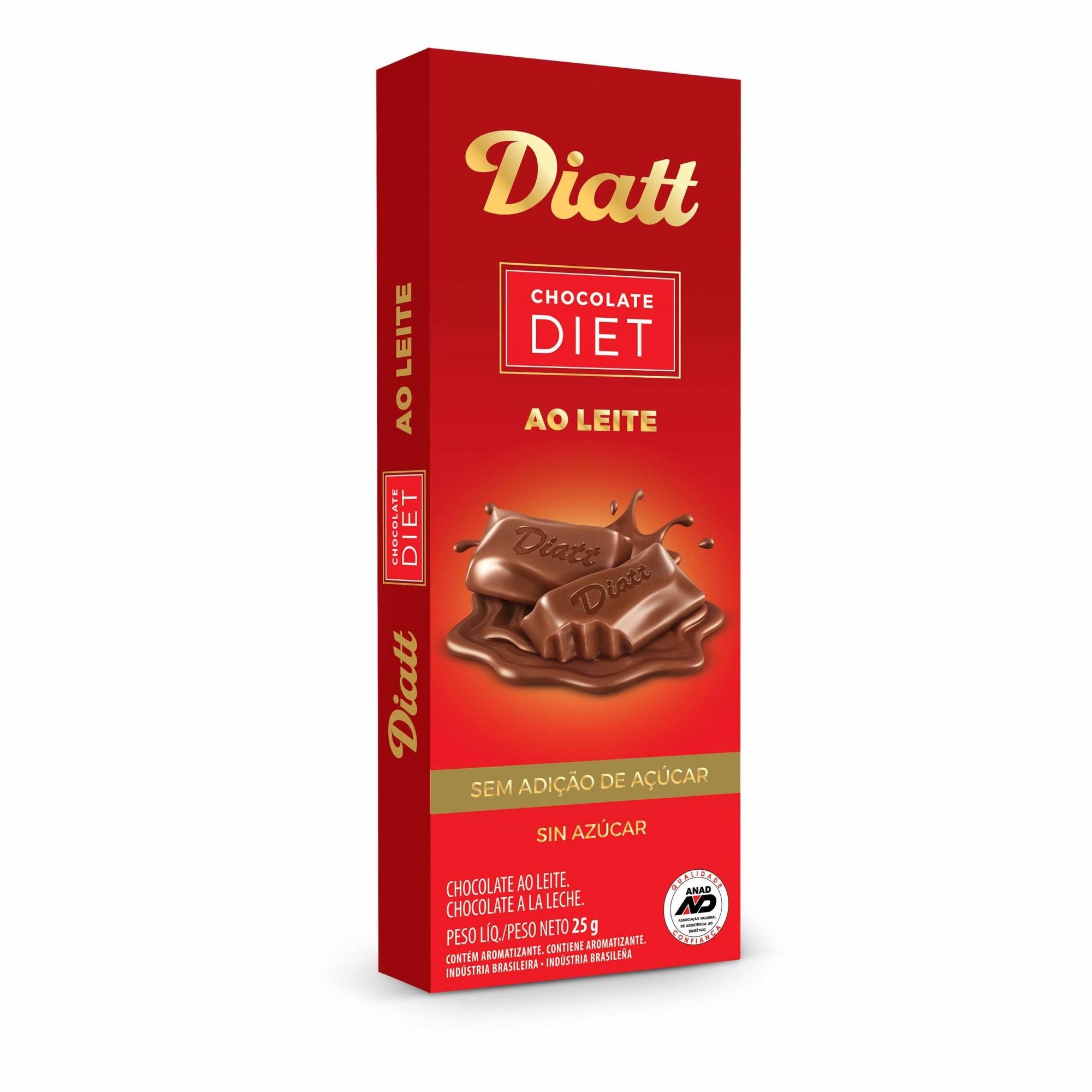 Chocolate Diet ao Leite Sem Adição de Açúcar 20g - Diatt