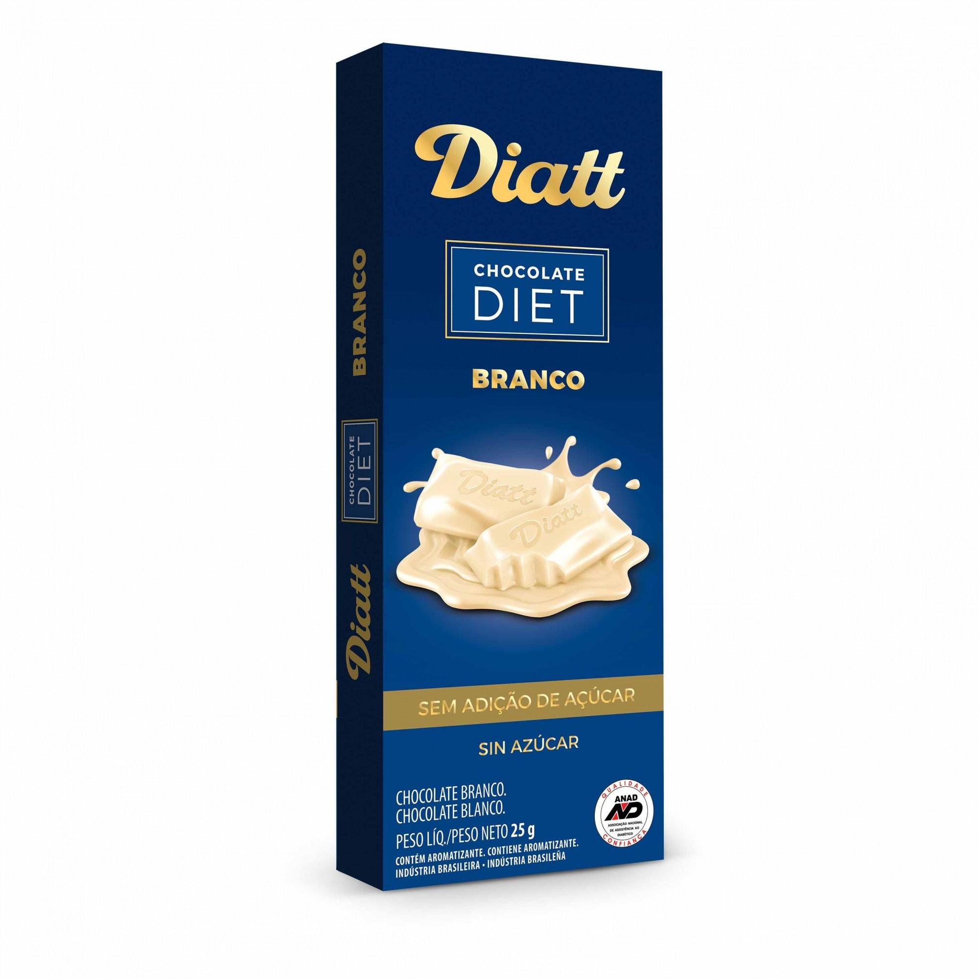 Chocolate Diet Branco Sem Adição de Açúcar 20g - Diatt
