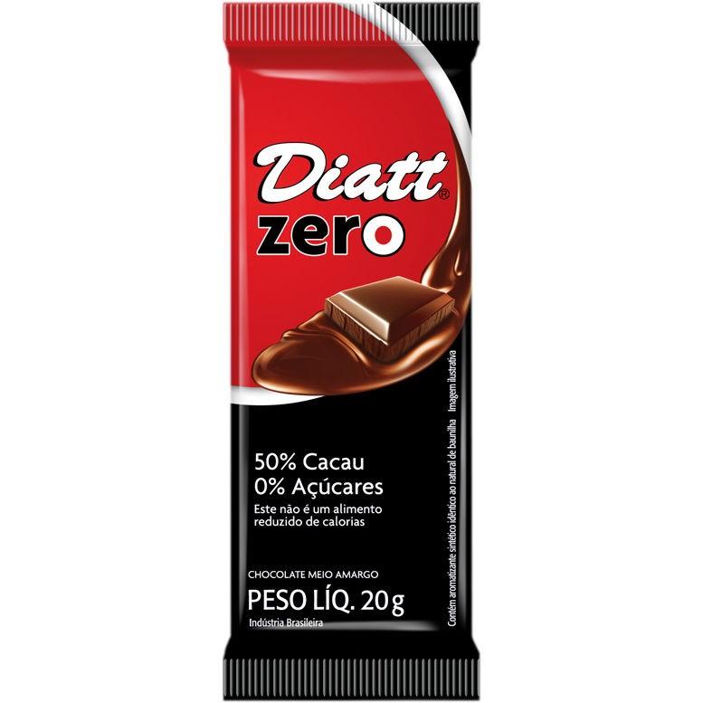Chocolate Zero 50% cacau 0% Açúcares 20g - Diatt