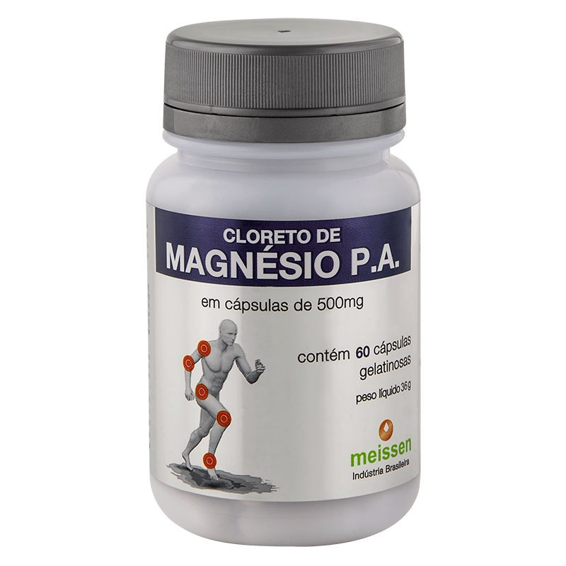 Cloreto de Magnésio P.A. 500mg 60 Cápsulas - Meissen